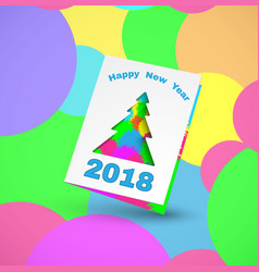 2018 greeting card with christmas tree 2 vector image