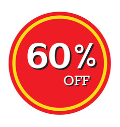 60 off discount price tag isolated vector image