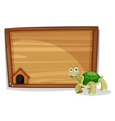 A turtle in front of an empty board vector image