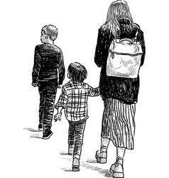 a young mother with her kids going on a stroll vector image