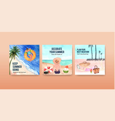Advertising template design for summer travel vector