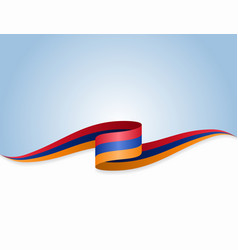 Armenian flag wavy abstract background vector