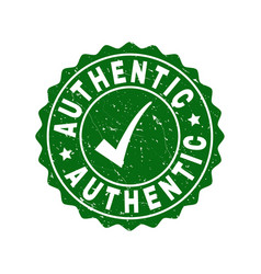Authentic grunge stamp with tick vector