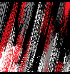 Black and red tire track grunge background vector