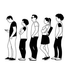 black and white people in line vector image