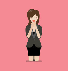 Business woman is on her knees and prays to god vector