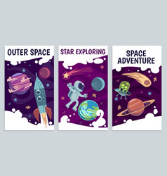 Cartoon space flyers astronomy future vector