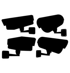 cctv security camera set black silhouette vector image