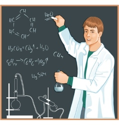 Chemist at blackboard vector
