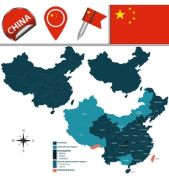 China map with named divisions vector image