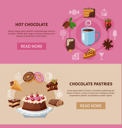 Chocolate drink and pastries banners vector