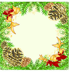 christmas and new year frame with pine cones and vector image
