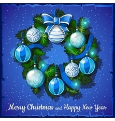Christmas wreath with blue and white balls vector image