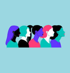 colorful profiles face silhouettes vector image