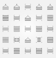 container line icons set vector image