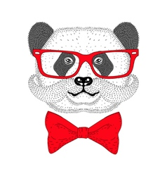Cute panda portrait with french mustache bow tie vector