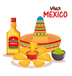 delicious mexican nachos with sauces and tequila vector image