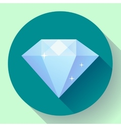 Diamond icon Flat design with long shadow vector image