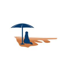 dog on beach logo inspiration isolated on white vector image
