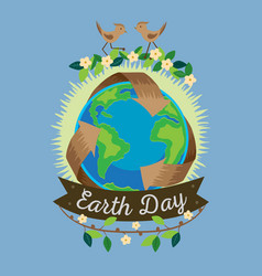 Earth day recycle symbol around green planet vector