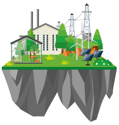 electric power station with greenhouse vector image