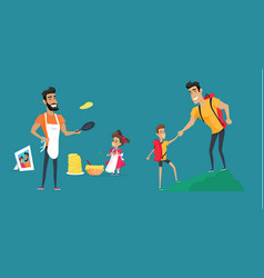 father loving dad with kids having fun vector image
