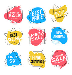 flat design origami labels 3 vector image