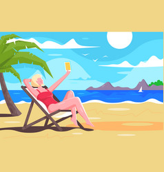 flat young woman with mobile phone makes selfie vector image
