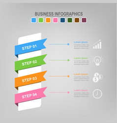 Four ribbons for infographics business concept vector