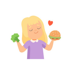 Girl holding burger and broccoli in her hands vector