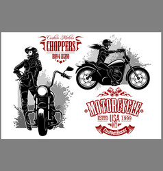 girls ride a motorbike biker party poster design vector image
