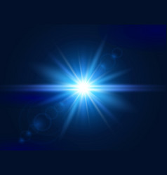 glowing light effect blue lens flare glare light vector image
