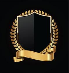 gold and black shield with gold laurels 14 vector image