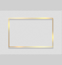gold frame square background golden frame line vector image