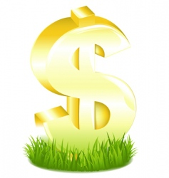 golden dollar sign in grass vector image