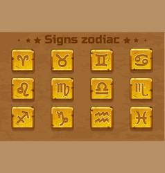 golden zodiac signs icons vector image