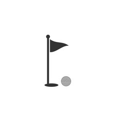 golf ball and hole with flag icon isolated golf vector image