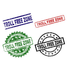 grunge textured troll free zone stamp seals vector image