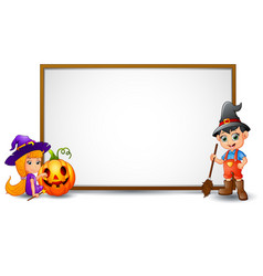 halloween sign with witch boy and pumpkin vector image