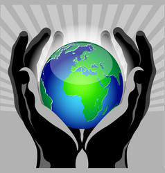 hands globe vector image