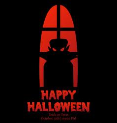 happy halloween window silhouette vampire shadow vector image