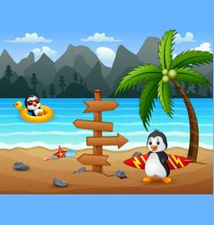Happy penguins on tropical beach vector