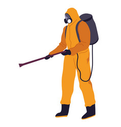 Hazmat costume with spraying tube backpack and vector