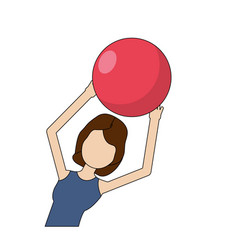 healthy woman doing exercise with ball vector image