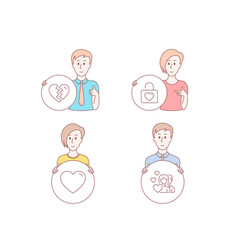 Heart break up and wedding locker icons couple vector