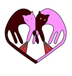 Heart symbol spring cat fights vector