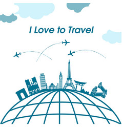 i love to travel earth plane background ima vector image