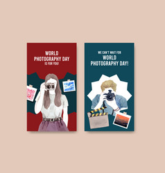 instagram template design with world photography vector image