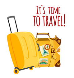 its time to travel yellow baggage background vector image