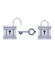 lock and key open and locked locks safety vector image
